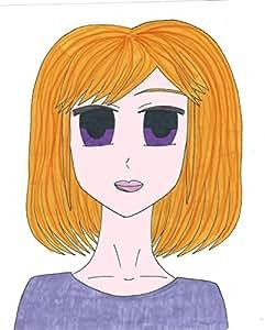 Anime Manga Girl yeux violets Poster Original Art Salon Chambre Maison-cadeau élégant fabriqué à la main aux États-Unis