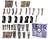 Tattoo2Go - 50 piezas de mangas tatuadas / Calcetines - Diseños temporales para disfraces divertidos.