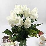 VGJJMNG Künstliche Blume 10pcs Real Touch Seide Künstliche Blumen Rose Hand Filz Simulation Hochzeit Silikon Rose Blumen Home Dekorative Blumen