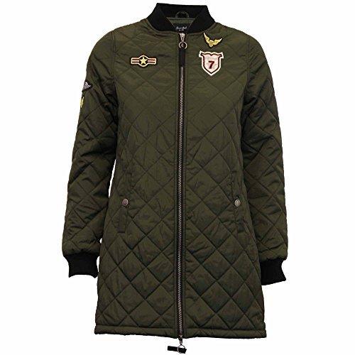 Damen Jacke Brave Soul Langer Mantel MA1 Harrington Gepolstert Gesteppt Militärisch Winter Khaki - WESTDIAMOND