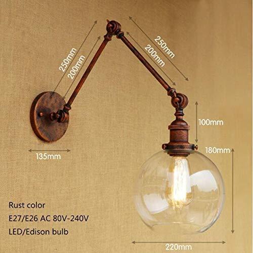 Wandleuchte Led - Leuchten Glaslampenschirm freier justierbares Swing Arm - Beleuchtungskörper, Rost Farbe -
