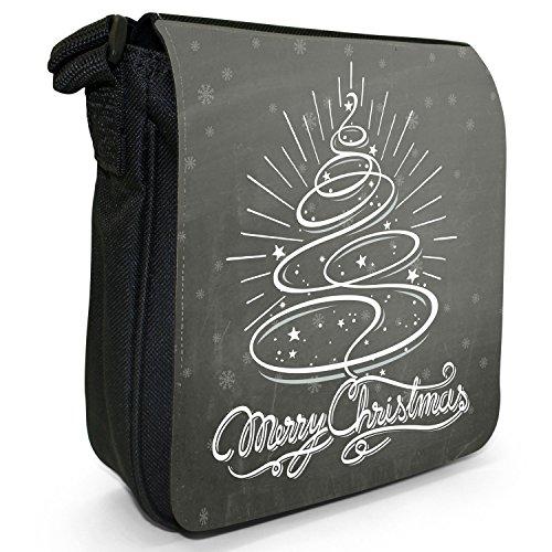 Natale con scritta, colore: nero Vintage a spalla in tela, piccola, colore: nero, taglia: S Merry Christmas Swirly Tree