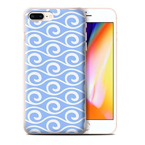 Stuff4 Hülle / Case für Apple iPhone 8 Plus / Grün Muster / Wellenmuster Kollektion Blau