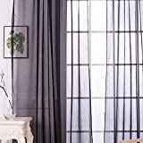 Mikolot Sitting Room Balcony Cafe Gauze Shade Curtain (Deep Grey)
