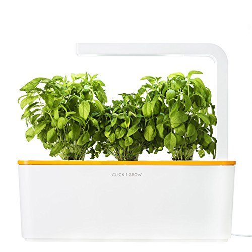 Click & Grow Indoor Smart Herb Garden with 3 Basil Cartridges, Orange lid