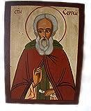HANDBEMALT Christian Icon St. Sergius/Sergei/Sergei, Tempera auf Holz