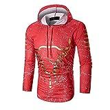 SEWORLD Herren Herbst Winter Sport Charm Herren Casual Slim Fit Beiläufige Drucken Outwear Langarm Pullover Hoodie Mantel Top(Rot,EU-50/CN-L)