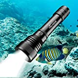 Volador Tauchlampe, Dive Lamp, 2000 Lumens Underwater 150m Underwater Torch, Waterproof Flash Lights with 2X 18650 Battery and Charger