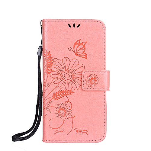 Price comparison product image Huawei P10 Lite Case - Cozy Hut [Wallet Case] Premium Soft PU Leather Notebook Wallet Embossed Flower Ants Dating Design Case with [Kickstand] Stand Function Card Holder and ID Slot Slim Flip Protective Skin Cover for Huawei P10 Lite - Pink Ant