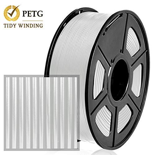 Filamento PETG Transparente 1.75 mm, 1 kg, bobinado ordenado actualizado, sin enredos, Transparente