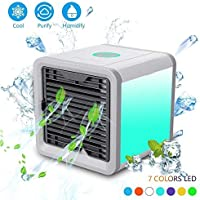 Mini Air Cooler Luftkühler Mobile Klimageräte Wasserkühlung Zimmer Raumentfeuchter Ventilator USB Raumluftkühler Luftreiniger Tragbarer (Einstellbare 7 Farbe LED-Licht/3 Ventilationsstufen)