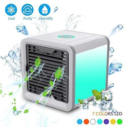 Condizionatore Portatile, Raffreddatore Ventilatore d'Aria,3-in-1 Mini Evaporativo Umidificatore Purificatore Mobile USB Climatizzatore con Raffreddam