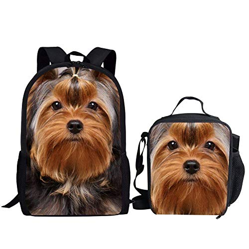 Nopersonality Büchertaschen für Mädchen mit Lunchbox Tasche Set Grundschule Rucksack Kleine Rucksäcke Tiermuster, Yorkshire Terrier School Bag Set (Blau) - Nopersonality - Yorkshire 3 Licht