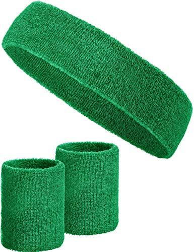 Balinco 3-teiliges Schweißband-Set mit 2X Schweißbändern für die Handgelenke + 1x Stirnband für Damen & Herren (Dunkelgrün)