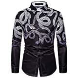 DNOQNHerren Freizeit Herbst Poloshirt T Shirt Lang Mode Gestempelt Langarm Shirt Bedruckte Langarmbluse L