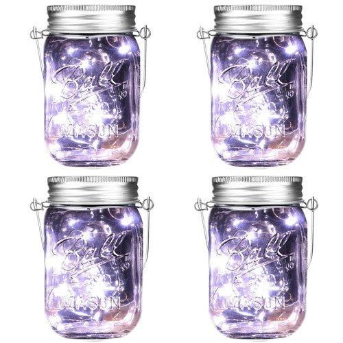 Luci Solari in Barattoli di Vetro Mason Jar con Coperchio per la decorazione del Patio, Giardino, Cerimonia, Festa, Vacanza