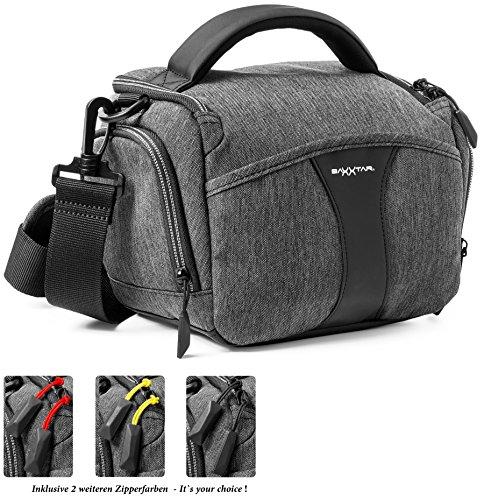 Baxxtar Modena Bridge SLR Kameratasche mit Regencape Schultergurt Gürtelschlaufe/DREI Farben Zipperband - Fuer Canon EOS 200D 250D 2000D 4000D - Nikon D3500 D5600 (Tasche Canon 60d Eos)