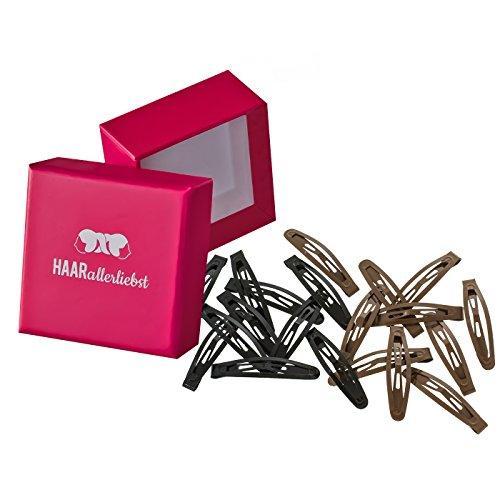 HAARallerliebst 20 Kleine Haarspangen Set Haarclips Haarklammern schwarz und braun 4,3cm kurz in Pinker Box
