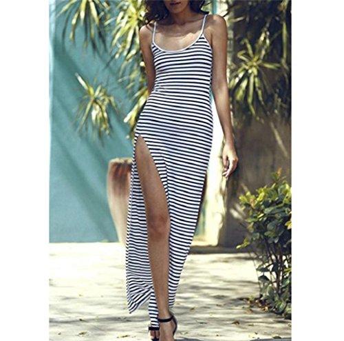 Rosennie Damen Rückenfrei Streifen Geschirre Maxi Strand Kleid Weiß