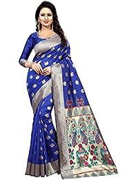 ASMI Fashion Icon Women's Cotton Silk Saree (Royal Blue)