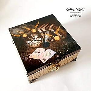 Exklusive Schatulle Harry Potter Hogwarts, Heiligtümer des Todes, box, schachteln, wood, für schmuck,Holzkästchen, Jewelry Box, Kästchen, Handarbeit.