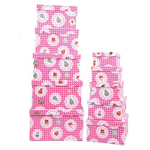 Markenlos Aufbewahrungsboxen/Schachteln Design Cupcake im 10er Set mit Deckel