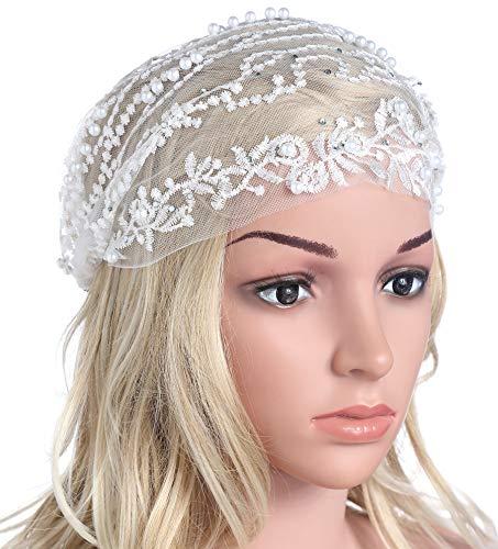 Coucoland Spitzen Haarband Damen Turban Hut mit Anhänger Kristall Brosche 1920s Stirnband Damen Exotisch Fasching Kostüm Accessoires (Weiß)