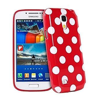 Silicone Softcase vintage strass Case Etui Coque étui de portefeuille protection Coque Case Cas Pour Samsung Galaxy S4 Mini i9190 i9192 i9195 Rouge et blanc