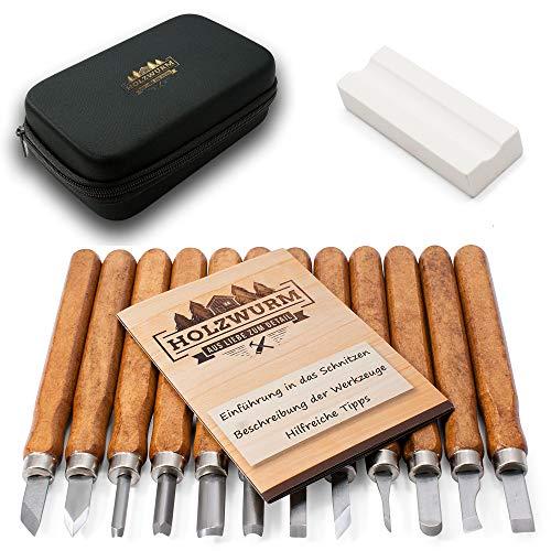 HOLZWURM Holz-Schnitzwerkzeug Set 12-tlg, inkl. Tasche, Anleitung & Abziehstein, ideale Schnitzmesser für Anfänger und Profis