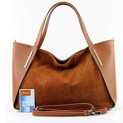 Italiana. Borsa donna shopper tracolla borsa tempo libero Business elegante vera pelle camoscio T126 cognac