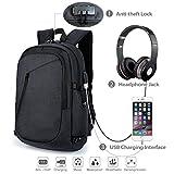 Mochila para viaje portátil con bolsa de viaje USB, compartimento para auriculares y cerradura, mochila resistente al agua para computadora portátil de hasta 15.6 pulgadas, negra