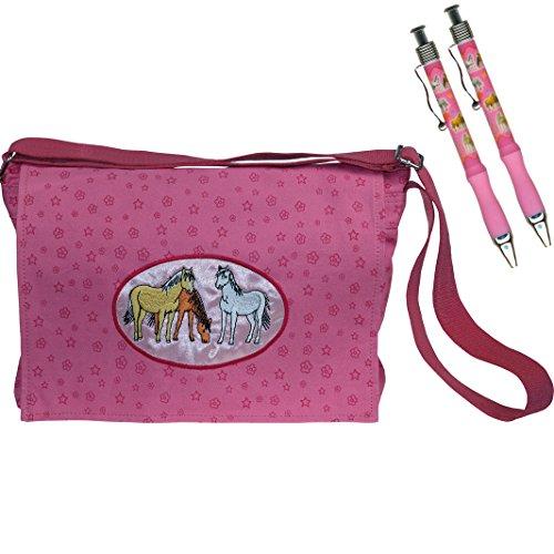 enset, 3-tlg. mit rosa Pferdemotiv Pferdetasche, Blumen und Sterne, 3 Pferde, bestehend aus Traumpferdchen-Tasche und zwei Kugelschreibern in rosa (Pony In Einer Tasche)