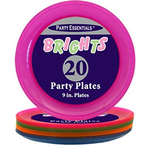 NEON hell sortiert Kunststoff Abendessen Teller rund 22,9cm Party Geschirr 20Stück