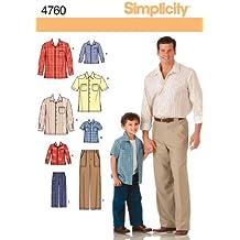 Simplicity 4760 A - Patrones de costura para camisas y pantalones de niño y hombre