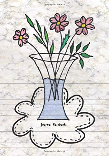 Journal Notebooks: Dual Design Half Wide Ruled and Half Blank on the same page for Creative Sketchbook Drawing or Doodling & Writing Journal Notebook Organizer with Beautiful flower in the jar Theme -