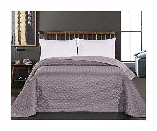 DecoKing 29831 Tagesdecke 170 x 210 cm stahl anthrazit grau silber Bettüberwurf zweiseitig pflegeleicht steel silver grey dimgray Axel