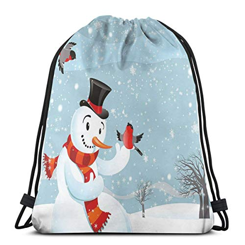 Drawstring Tote Bag Gym Bags Storage Backpack, Snowfall Festive New Years Eve Celebration Theme Xmas Figure with Bullfinch Birds,Very Strong Premium Quality Gym Bag for Adults & Children