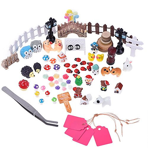Antner 72 Pezzi Miniature Fata Giardino Ornamento Kit per Fai da te Casa Delle Bambole Decor con Box di Stoccaggio