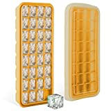 Plateaux de cubes de glace en silicone avec couvercle scellé - Bacs de qualité alimentaire avec 32 moules à cubes de glace - Vérification de la FDA, sans BPA, souple et facile à libérer pour rendre vos boissons fraîches. Fabrication de glaces, cuisson, entreposage des aliments