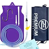 Premium Enema™ Purple SILICONE ENEMA BAG KIT with Precision Stopcock Tap, One-Way Valve, Long Silicone Hose, 3 Insertion Tips & Storage Bag - BPA Free and Phthalates Free - Satisfaction Guaranteed