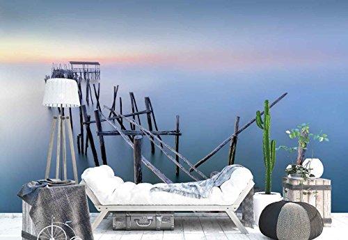 Vlies Fototapete Fotomural - Wandbild - Tapete - Verwittert Holz-Dock Überdachung Meer - Thema Strand und Küste - MUSTER - 104cm x 70.5cm (BxH) - 1 Teilig - Gedrückt auf 130gsm Vlies - 1X-1311837VEM