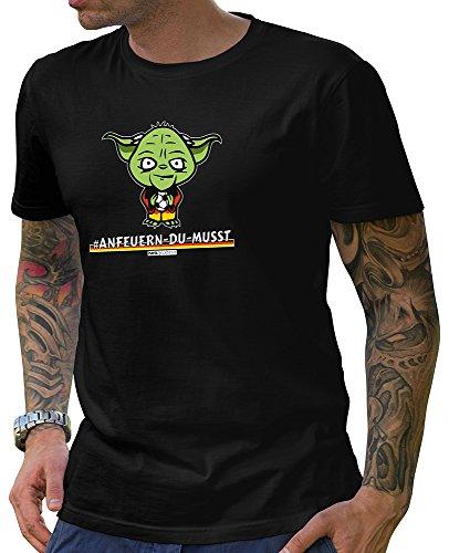 HARIZ  Pixbros Collection Herren T-Shirt Schwarz Designs Wählbar Deutschland Trikot Weltmeisterschaft Urkunde Bang Sticks Pixbros13: Anfeuerndumusst L