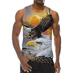 Loveternal Mens Wings Eagle Ärmelloses T-Shirt 3D Bedrucktes Tank Top Lässiges Cooles Muscle Shirt S