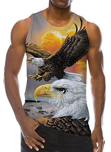 Loveternal Herren 3D Gedruckt Tank Top Casual Sommer Ärmelloses T-stücke Weste Wings Eagle T-Shirt L (Ärmelloses Eagle)
