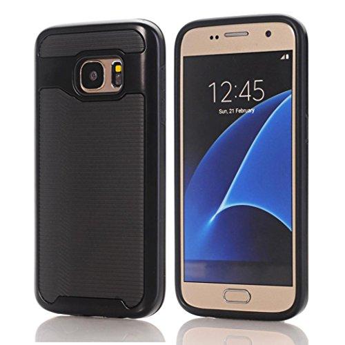 aobiny Handy Tasche Case Bumper Hybrid Soft Gummi-Haut Hard Case Handy Cover für Samsung Galaxy S7, Schwarz Gummi Hard Case Cover