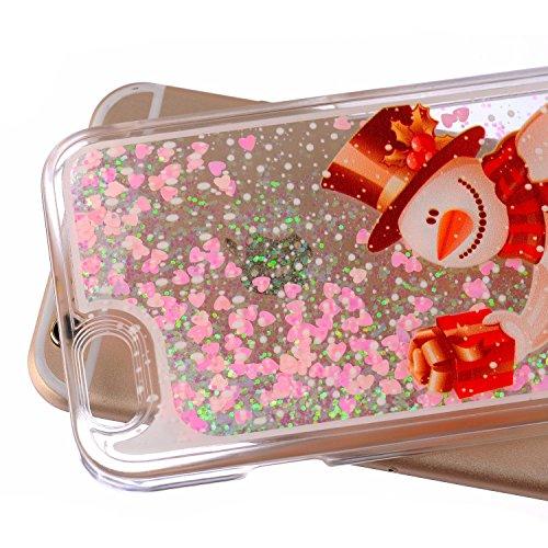 NSSTAR Coque rigide effet liquide et paillettes pour iPhone 6S (2015) et iPhone 6 (2014) Rose, plastique, Aquatic Plants, Apple iPhone 6S/6 4.7 Christmas Snowman