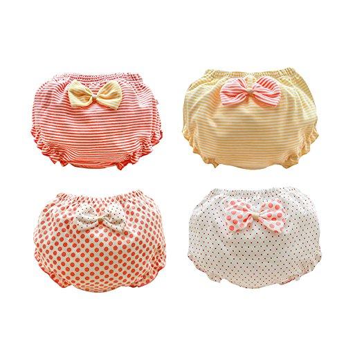 TAIYCYXGAN 4er Set Baby Mädchen Unterhosen Unterwäsche Kleinkinder Süß Prinzessin Bogen Windelhöschen Sehr Atmungsaktiv 80