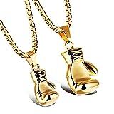 Aooaz Damen Halskette Kette Edelstahl Faust Boxhandschuhe Anhänger-Halsketten Gold 55cm