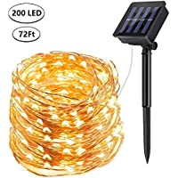 DeepDream Solar String Lights, 72ft/20m 200 LED Solar Powered Fairy Lights Waterproof Outdoor/Indoor Copper Wire Decorative Lighting for Patio Garden Yard Party Wedding Christmas (Warm White)