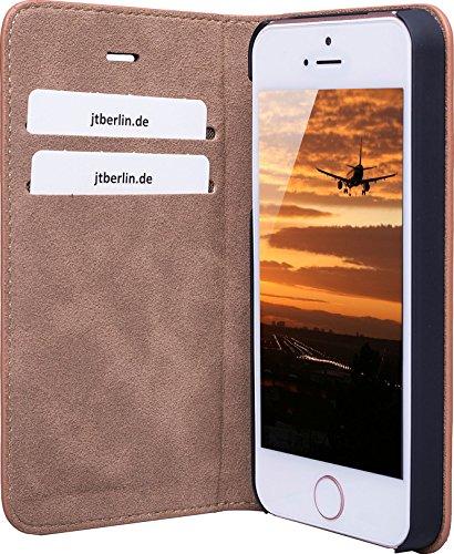 JT Berlin LederCover Kreuzberg für Apple iPhone SE(cognac) [Echtleder | Handarbeit   Passgenau] - 10257 Lederbook Tegel - cognac